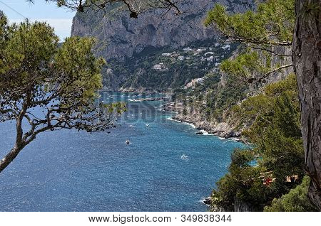 Bay On Capri Island In Italy View From Hills