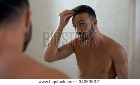 Handsome Man Worried About Hair Affected By Dandruff, Scalp Disease, Health