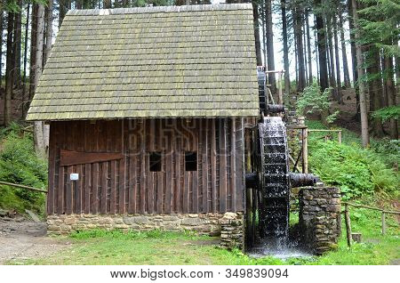 Old Wooden Water Mill With Mill-wheel Detail Photo