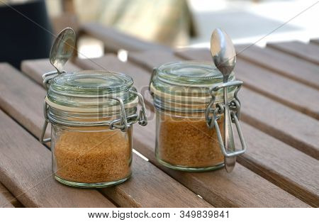 Brown Sugar For Coffee Two Box From Glass With Spoon Photography