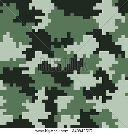 Khaki  Pixel Seamless Camo Pattern. Khaki Hunting Or Military Camouflage. Illustration.