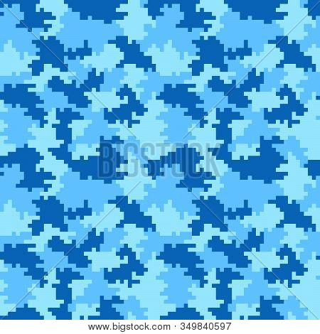 Blue Pixel Seamless Camo Pattern. Cian-blue Hunting, Winter Or Military Camouflage. Illustration.