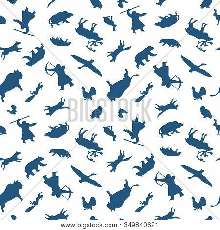Seamless Pattern Of Wild Animals And Northern Hunters. Vector Illustration Isolated On A White Backg