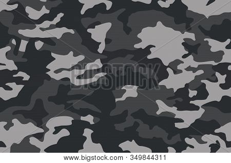 Camouflage Pattern Background. Classic Clothing Style Masking Camo Repeat Print. Black Grey White Co