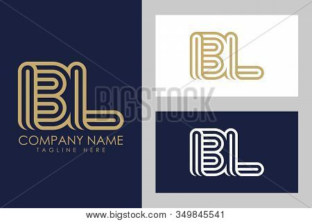 B And L Combination Lines Letter Logo. Creative Line Letters Design Template