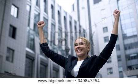 Woman Showing Success Gesture, Extremely Happy About Breakthrough In Startup