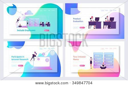 Intranet Private Corporate Network Website Landing Page Set. Business People Office Workers Using Cl