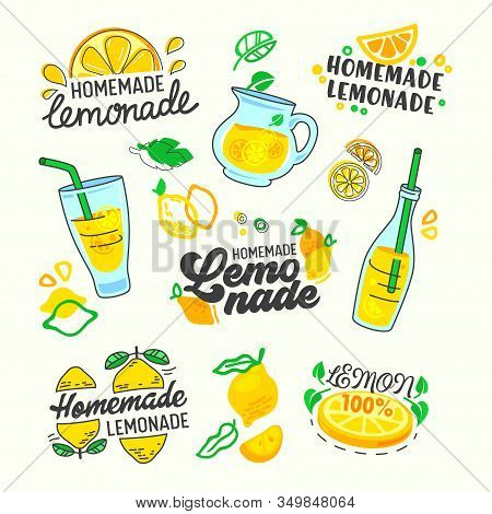 Homemade Lemonade Set Typography And Doodle Elements. Yellow Lemon Fruits, Glass Bottles And Carafe