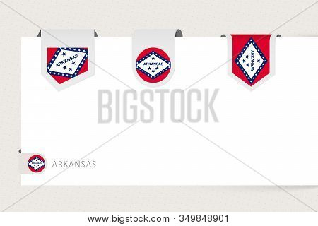 Label Flag Collection Of Us State Arkansas In Different Shape. Ribbon Flag Template Of Arkansas Hang