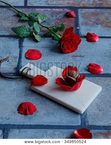 A Chocolate And A Real Rose For Valentine's Day