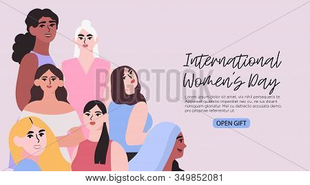 Vector Illustration Of Differnet Diverse Multiethnic Group Of Women . Creative Banner, Poster, Socia