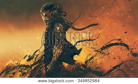 Sci-fi Character Of An Infected Astronaut Standing On Fire, Digital Art Style, Illustration Painting
