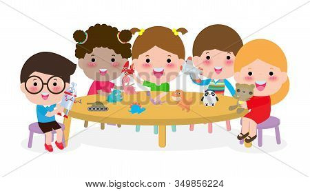 Cute Kids Playing With Toys, Happy Children Activity In The Kindergarten Group Of Happy School Child