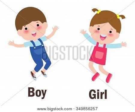 Opposite Words Boy And Girl Vector Illustration, Opposite English Words Boy And Girl On White Backgr