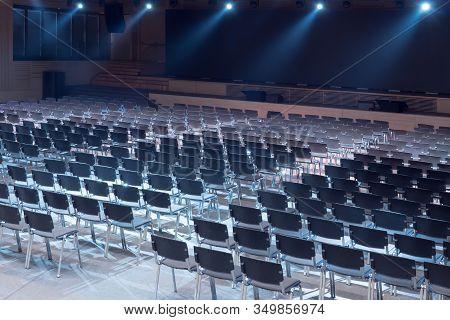 Kyiv, Ukraine - October 24, 2019: Interior Of Modern Conference Hall. Seminar Hall. Empty Modern Mee
