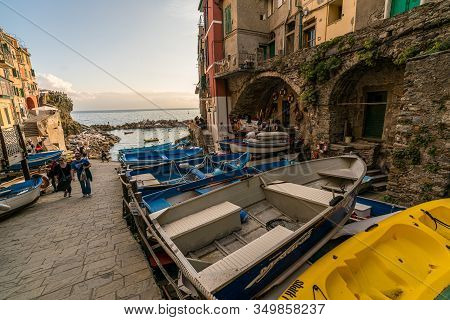 Riomaggiore, Liguria, Italy - October 05 2017:  Street View Of Old Fisherman Village, Riomaggiore, W