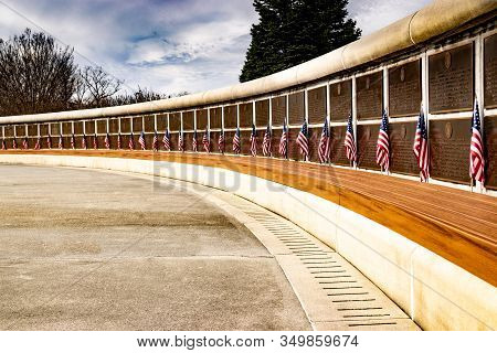 Bedford, Virginia: February 6, 2016 - At The National D-day Memorial, Us Flags Are Arrayed In An Arc