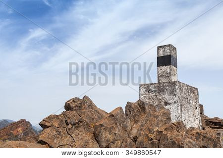 Stone Geodesic Landmark On The Top Of Pico Do Arieiro, It Is Third Highest Peak Of Madeira Island, P