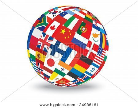 Sphere With Flags Of The World