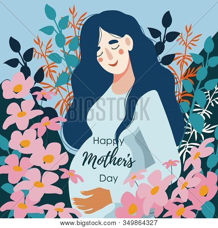 Happy Mothers Day. Pregnant Woman Surrounded By Many Flowers. Vector Cute Flat Illustration.