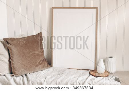 Portrait Empty Wooden Frame Mockup With Linen Cloth, Velvet Cushions And Modern Ceramic Vases. White