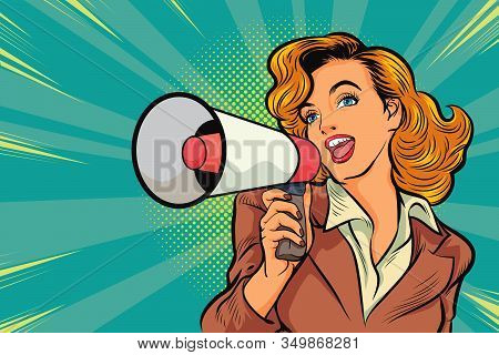 Beutiful Woman With Megaphone Pop Art Retro Vector Illustration. Woman With Loudspeaker. Female Anno