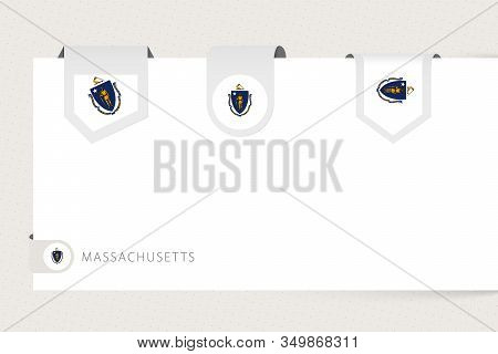 Label Flag Collection Of Us State Massachusetts In Different Shape. Ribbon Flag Template Of Massachu