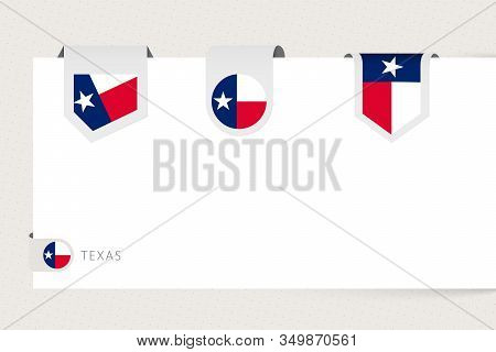 Label Flag Collection Of Us State Texas In Different Shape. Ribbon Flag Template Of Texas Hanging Fr