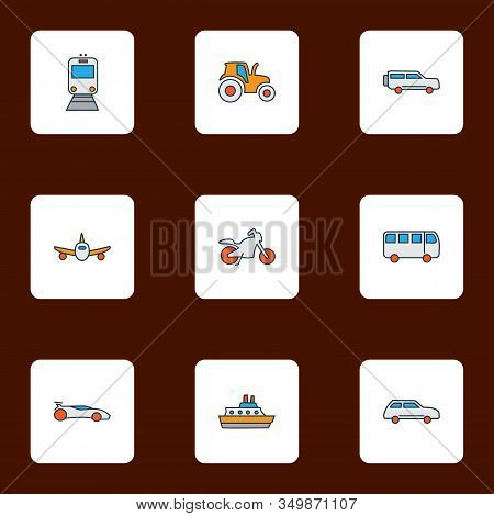 Transit Icons Colored Line Set With Motorcycle, Plane, City Car And Other Agriculture Car Elements.