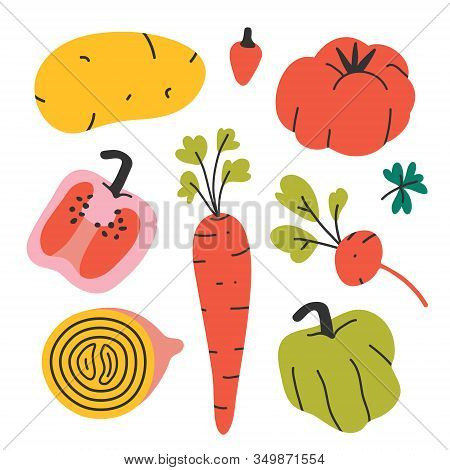 Vegetables Collection, Isolated Hand Drawn Veggies, Farming And Gardening Products, Paprika Pepper,