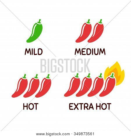 Hot Chili Peppers Icon Set. Level Of Spicy From Mild To Extra Hot With Fire Flame. Simple And Cute C