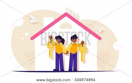 Happy Family With Keys To A New Home. Illustration On The Topic Of Mortgage Lending. Silhouette Of T