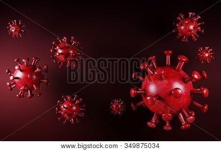 Microscopic View Of Cell Oncoronavirus  Red Background. Deadly Type Of Virus 2019-ncov. Analysis And