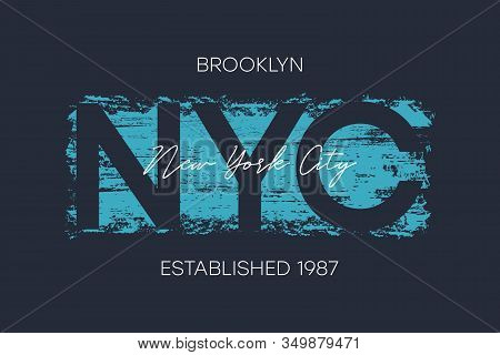 Nyc, Brooklyn T-shirt Design With Brush Stroke. New York City Typography Graphics For Athletic Appar