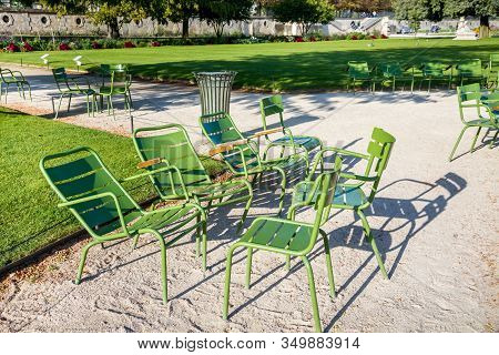 Green Chairs In The Tuileries Garden Paris, France