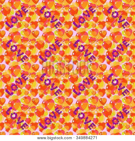 St. Valentine, Vector, Seamless Pattern And The Inscription Love From Stylized Hearts And Flowers In