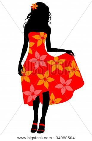 Girl In Red Dress Silhouette