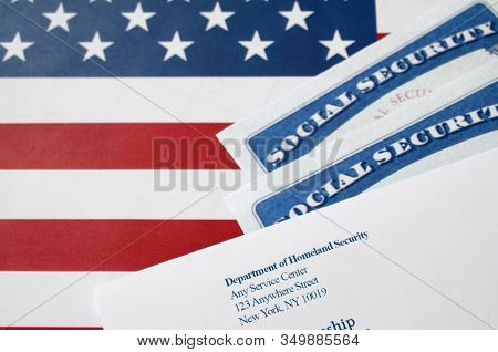 United States Social Security Number Cards Lies With Uscis Envelope On Us Flag