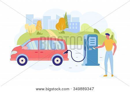 Refueling Car With Column And Paying With Card. Man Refueling His Family Car With Gas To Continue Hi