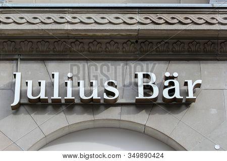 Zurich, Switzerland - October 26, 2013: Bank Julius Baer In The Swiss Financial Center. Julius Baer