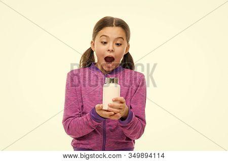 Dietary Supplement For Children. Take Vitamin Supplements. Vitamin And Medicine Concept. Child Girl