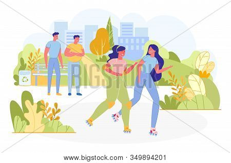 Two Woman Roller Skating In Park Flat Cartoon Vector Illustration. Spending Time Actively. People In