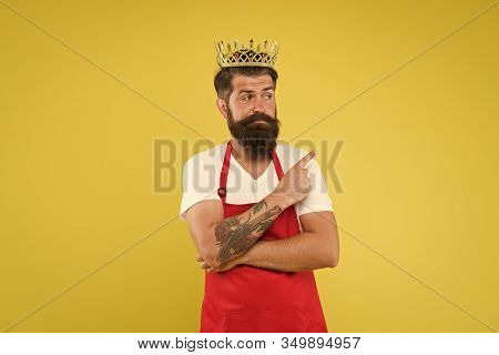 Premium Quality. Cook Food. Cook With Beard And Mustache Yellow Background. Royal Recipe. Man King C