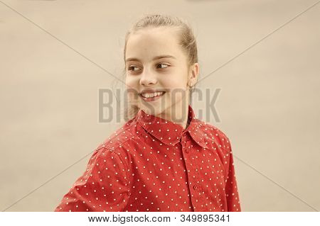 Toothy Smile. Little Child Happy Smile. Smiling Kid With Healthy Teeth. Adorable Girl Sincere Smilin