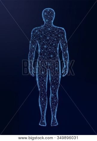 Human Body Low Poly Vector Illustration On Dark Background. Medicine, Science And Technology Concept
