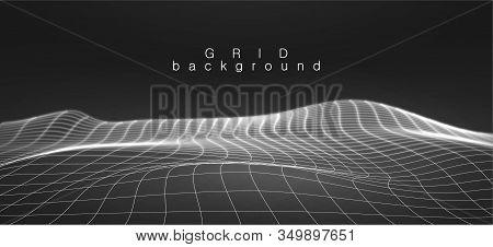 Landscape Background In Black And White Colors. Vector Illustration Terrain. Cyberspace Grid. Big Da