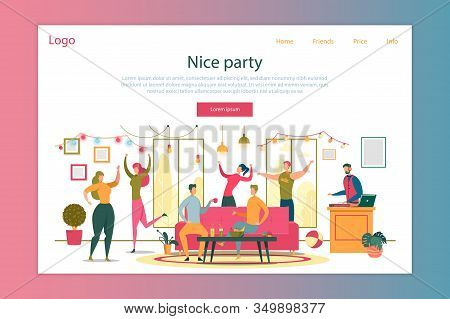 Nice Party Cartoon Vector Landing Page Template. Friendship Day Indoor Celebration Web Banner Layout