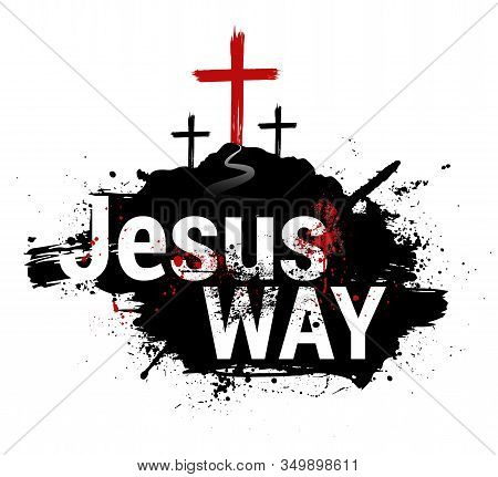 Christian Banner Symbol Of The Crucifixion Of Jesus Christ. Vector Isolated Illustration With Grunge