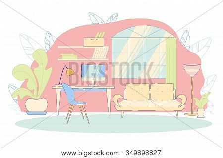 Modern Home Office Interior Or Comfortable Freelancer Workplace Furnituring Background With Work Des