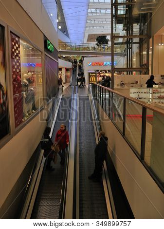 Most, Czech Republic - January 29, 2020: Automatical Stairway In Oc Central Shop